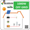 Bluesun off grid 1000w solar energy system home solar system 1kw with battery