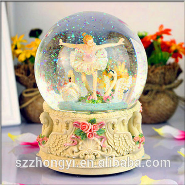2014 China Supplier hot new products ballerina music box,wholesale glass snow
