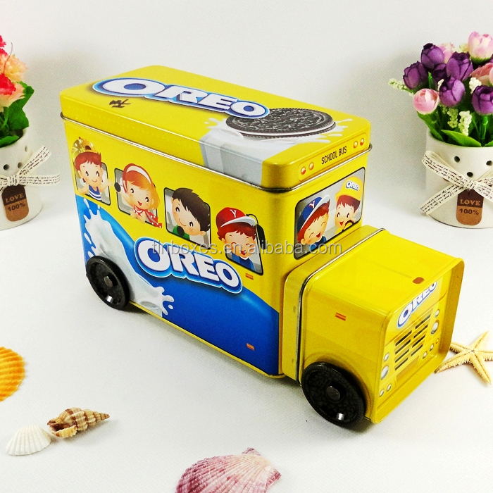 Chinese manufacturer supply cookie packaging metal tin truck boxes for kids