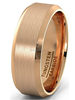 Rose Gold Tungsten Carbide Ring with Brushed Beveled Edges wholesale Mens Wedding Band ring