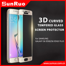 2015 new anti-scratch curved tempered glass screen protector/film/guard/ full cover for Samsung galaxy S6 edge s6 edge plus