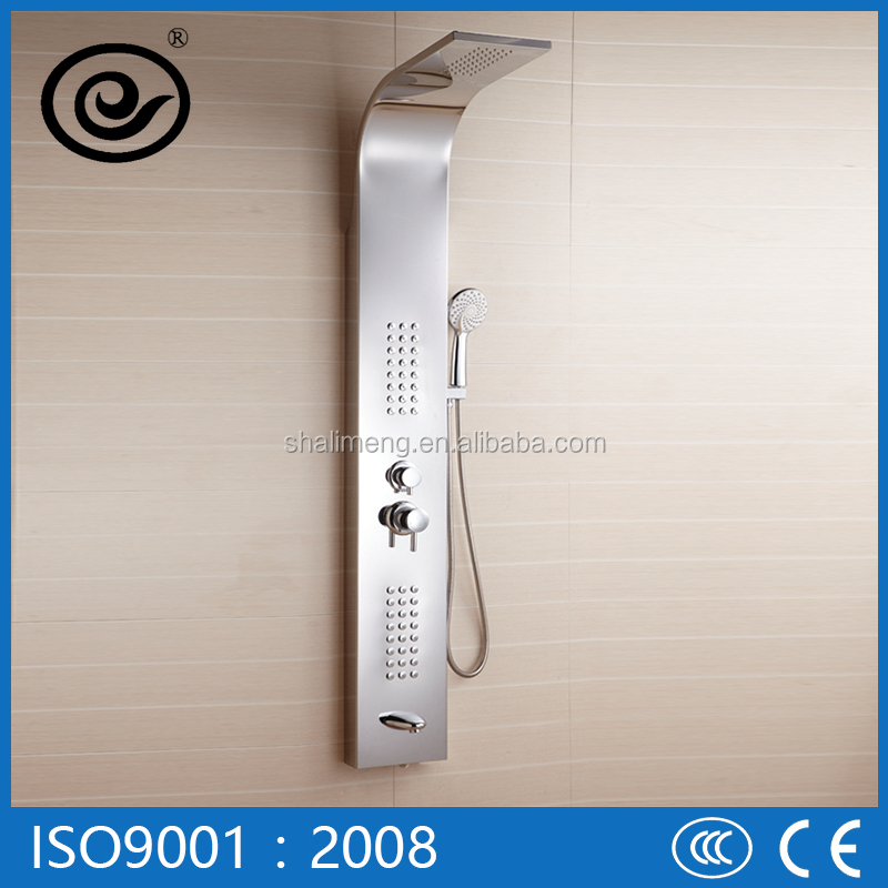LED Top Head Shower Back Massage Nozzles Mirror Surface Stainless Steel Shower Panel Shower Parts