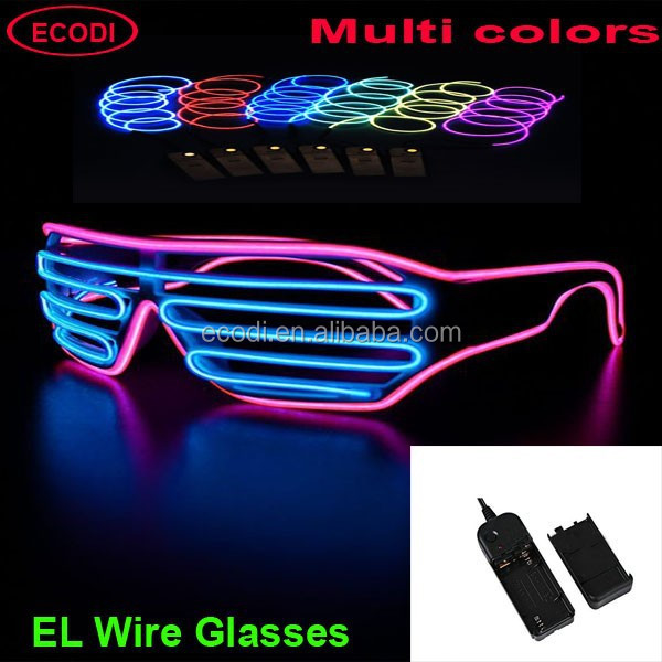 2015 HOT EL Flashing light up glasses with multi el wire color
