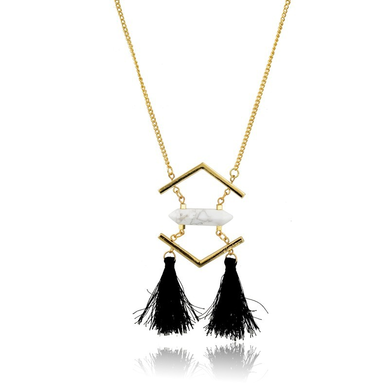 Gemstone Jewellery Wholesale White Howlite Pendant With Tassel Gold Plating Chain Neckalce