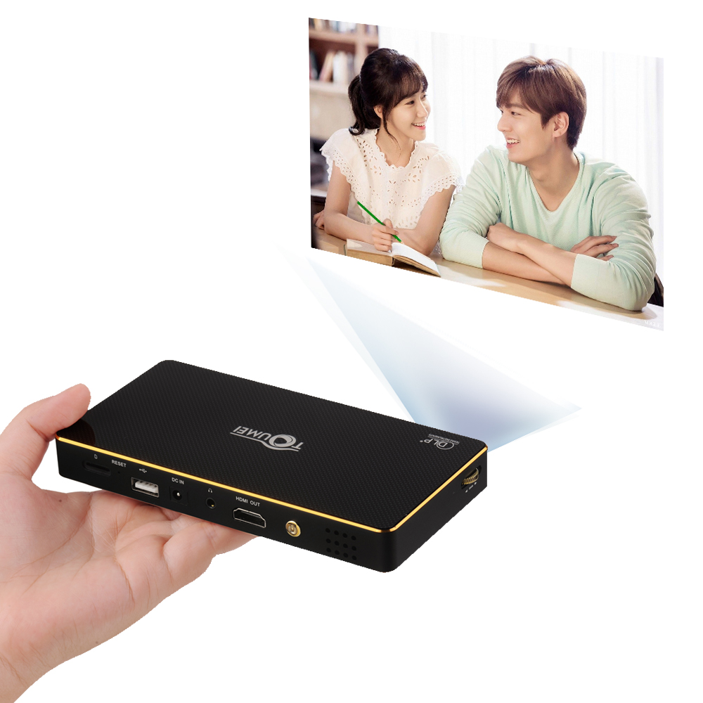 DLP Mini Smart Portable Android Projector with Wifi Bluetooth and remote control-function Iphone 6 plus Size