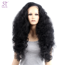 Sexy Black Afro Wave Wig Fluffy fullness Synthetic Lace Front Wigs For Black Women