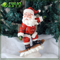 16.14 in.H standing moving santa claus with wooden christmas sleigh