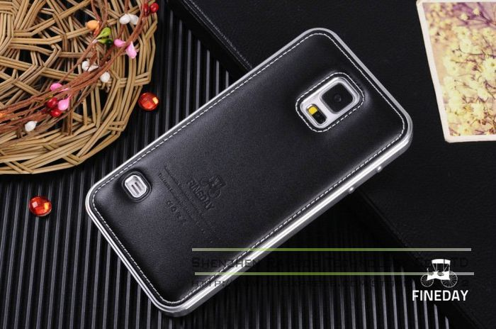 Luxury Brushed Metal Aluminum Bumper for Samsung Galaxy S5 Soft Back Genuine Leather Phone Cases Cover