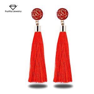 Fashion Jewelry Black Crystal Flower Fringe Earings Earing Geometric Long  Dangle Tassel Earrings For Women Gift 29fd28a2fbef