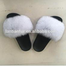 Lady girls ostrich Fur slippers/ fox fur Slide Slippers /Sandals