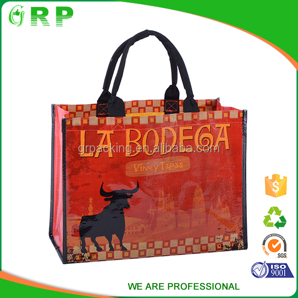 Custom recycled printed shopping eco friendly red pp non woven bag