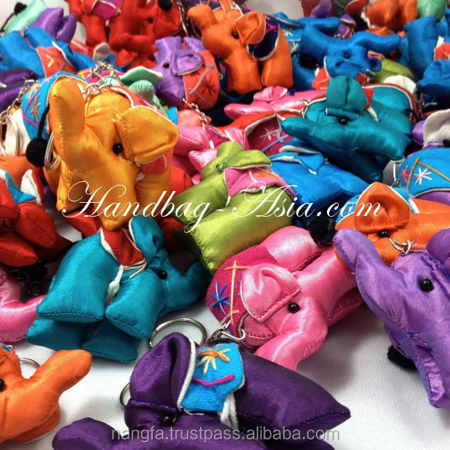 Thai silk elephant key chain and silk dolls for wholesale from Thailand