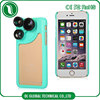 Camera Lens 4 in 1 fisheye/wide angle/2X telephoto pc+silicone cover for iphone 6 case