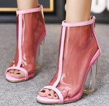 X62048A Women 2017 Summer New Transparent Shoes Clear Square Heel Jelly Sandals