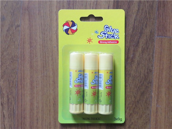 High quality Blister card pack school office adhesive white hot glue stick