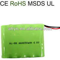 6.0V aaa 650mAh NiMH rechargeable battery pack