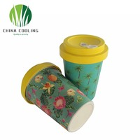 350ml Reusable Biodegradable Bamboo Fiber Coffee Cup Small Quantity Accepted Customized design and logo