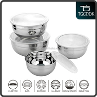 Sealed PP lid Stainless Steel Salad Bowl, Mixing Bowl with Lid, Fresh Bowl