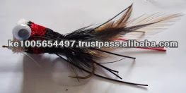 Deer hair bass bug red, black and white Bass Bug flies