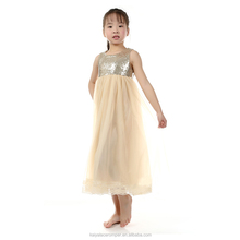 Gold Sequin and Soft Tulle Wedding Dresses,Party Dress for 2-12 Years Old Girls
