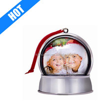 handmade painted christmas plastic photo frame snow globe with Magnet