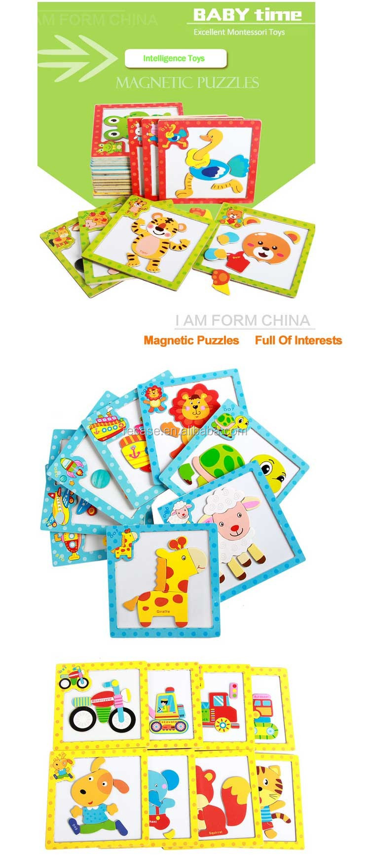 9 Pcs Animal Jigsaw Puzzle Toy For Kids Cartoon Educational Toys