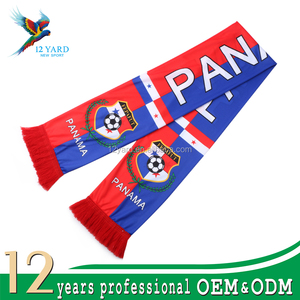 Different sizes manufacturer 100% Polyester multispandex Winter fans Panama national scarf