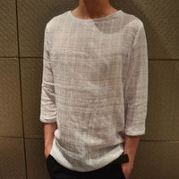 Trade assurance blank cut and sew t-shirt hemp material white t shirts high quality 3/4 length sleeve hemp t-shirts