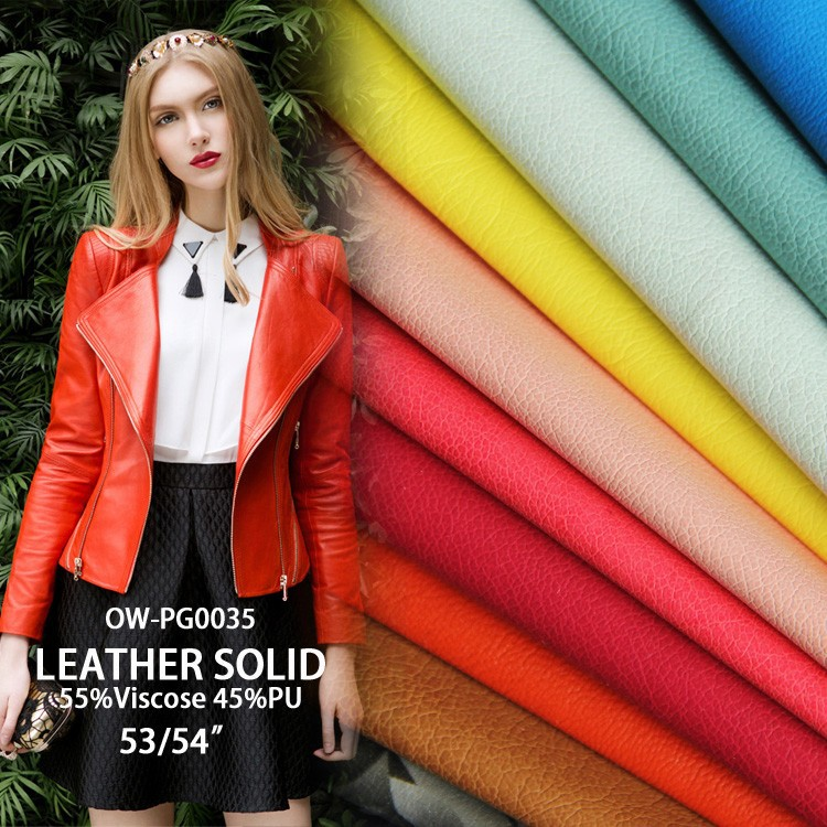 2016 fashion synthetic pu leather for garment clothing coat solid Synthetic Leather print viscose pu leather fabric