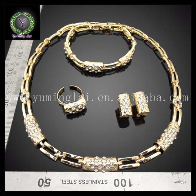 fashion jewelry women wedding gift jewelry set small diamond gold plated jewelry set FHK1418