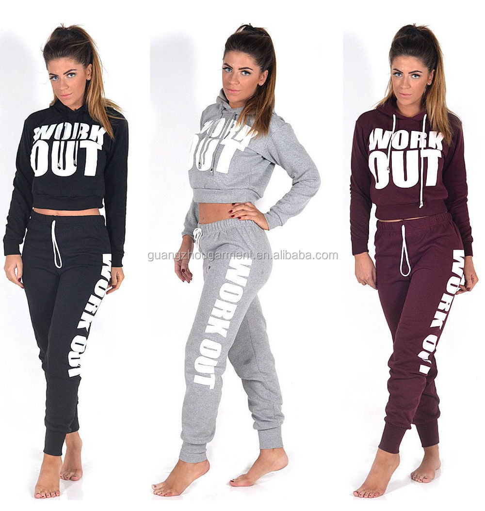 New Ladies Work Out Slogan Tracksuit Crop Hoodie Joggers