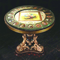 Luxury French Louis XV Style Brass Carving Coffee Table/Antique Curio Reproduction Round Table With Porcelain Painting On Top