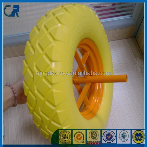 Manufacturer 16 inches flat free pu filled 4.00-8 foam tire