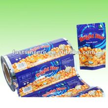 Auto packing plastic films in roll for snacks food