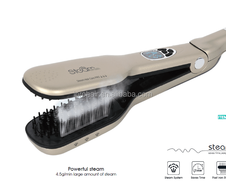 Newest OEM Hair Steam Hair Straightener Comb With LCD Display Electric Straightener Iron Brush Salon Equipment