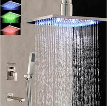 Ceiling Mounted Nickel Brushed LED Light Square Rain Shower Head Faucet Tub Spout Hand Shower Mixer Tap