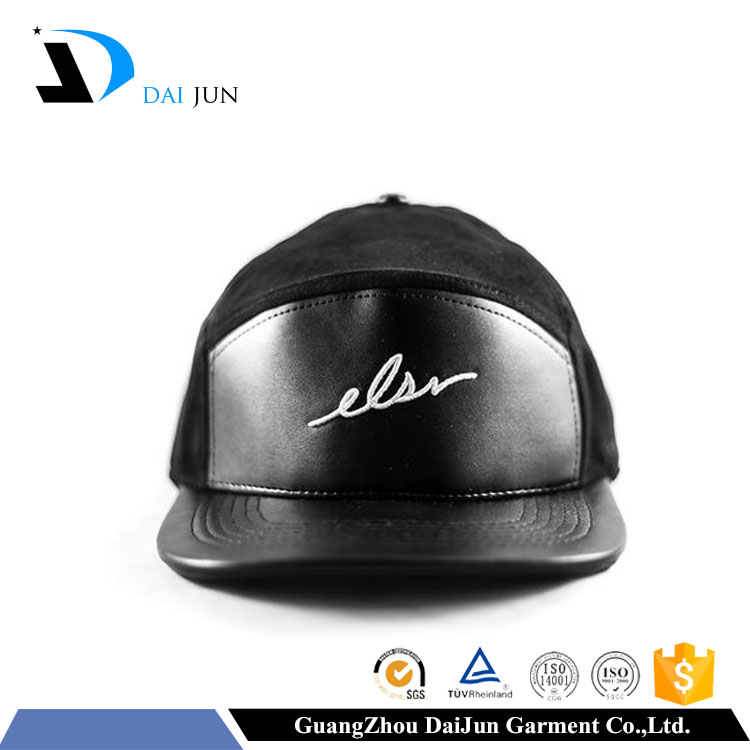 2016 Hot sales black leather front with black colour panels flat brim screen printing men fashion blank leather strap back hat