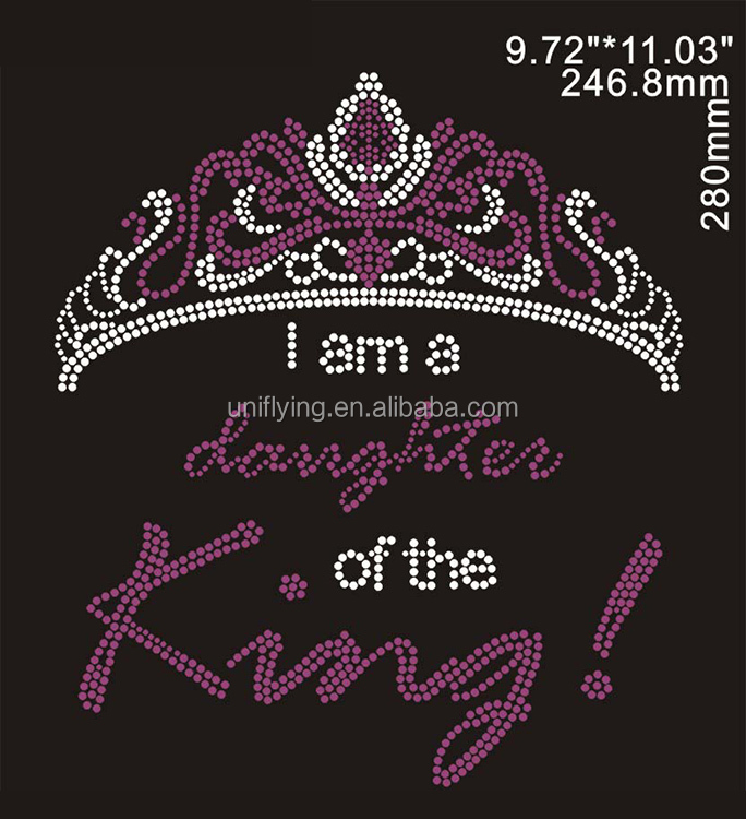 Wholesale daughter of the king crown iron on custom rhinestone designs