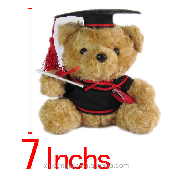 2017 graduate gift panda bear stuffed toys with trencher cap