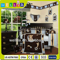 14pcs luxury applique and embroidery baby cot bedding set