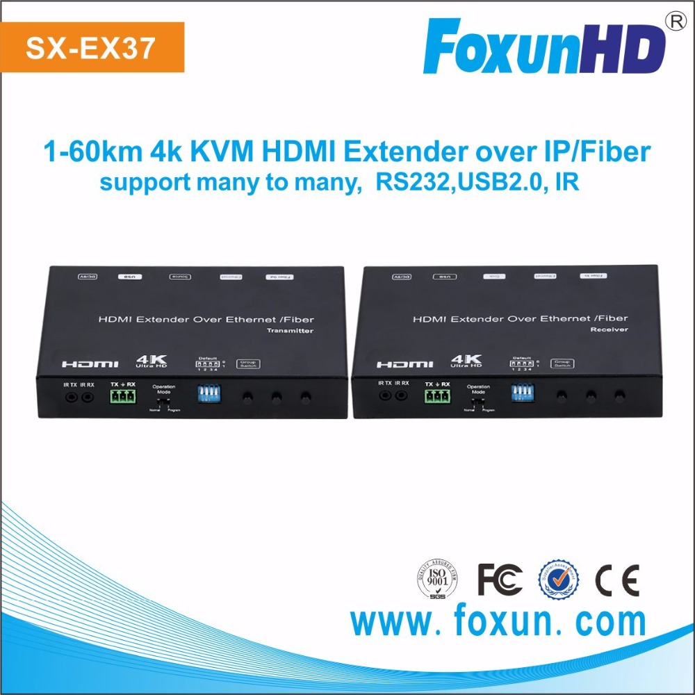 Foxun SX-EX37 4k HDMI extender over IP with Multicast Video wall controller system USB2.0 over IP extention rx tx hdmi extender