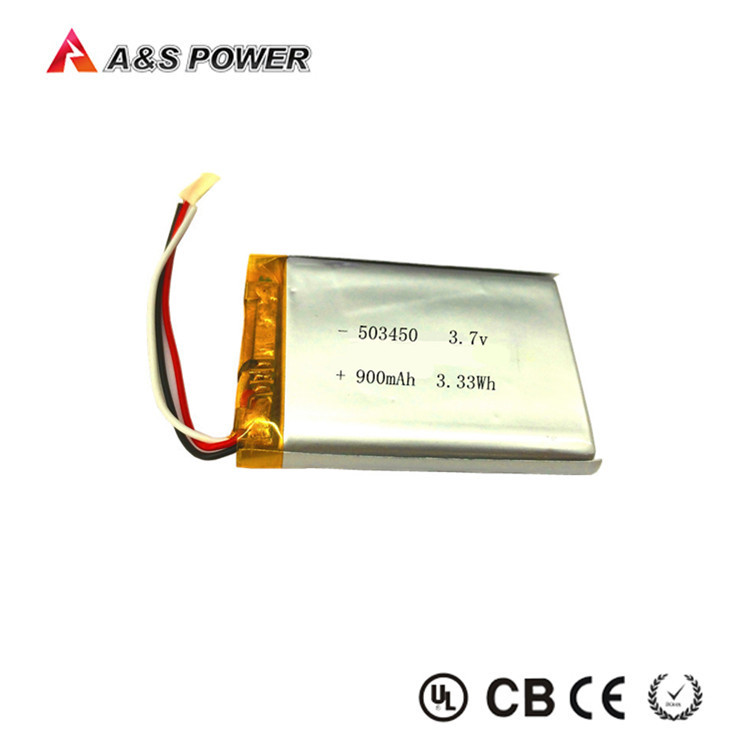 On time shipment rechargeable 503450 lipo 3.7v 900mah li-ion battery