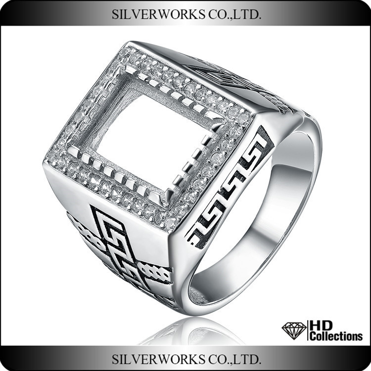 925 sterling silver ring big size DIY men silver punk ring men blank ring with zircon