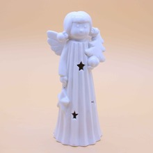 decorative led light ceramic christmas angel figurines craft gift