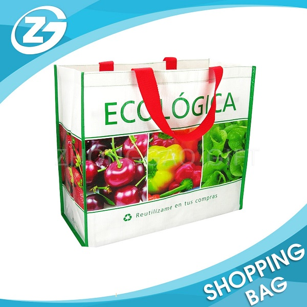 Eco Full Color Picture Printed Bopp Lamination PP Woven Grocery Bag Tote for Shopping