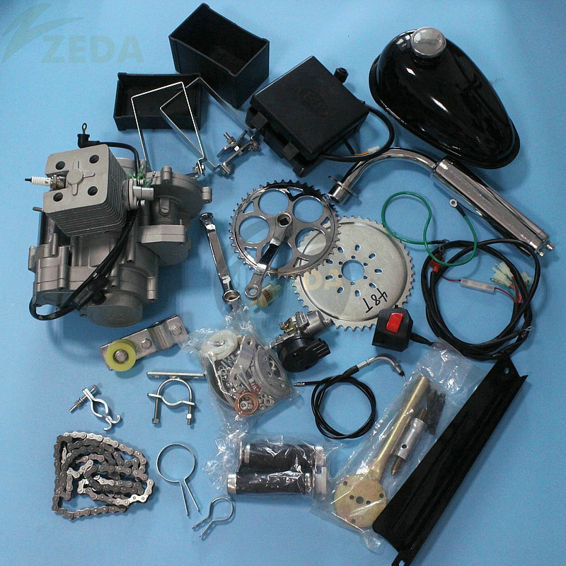 Gasoline Motorcycle Gas Powered Motorized Bicycle Bike Motor Electric Start 2 Stroke 80cc Gas Bicycle Engine Kit