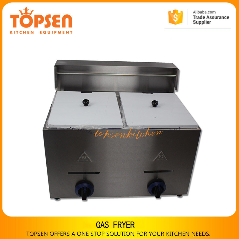 Commercial used donuts frying machine, deep frying machine, deep fryer gas with 2 baskets