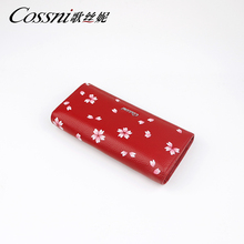 Leather Long Wallet Women Money Phone Zip Purse Clutch Wallet Custom Silver Printed Floral Wallet