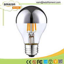 2200K 2700K E26 E27 B22 E12 E14 A60 LED Filament Bulb Light Lamp Half Mirror Silver 1W 2W 4W 110V 120V 220V 230V 240V