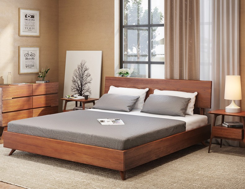 modern home bedroom furniture latest classic teak / oak solidwood single / double bed designs of queen size
